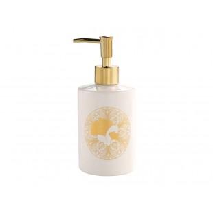 Biely dávkovač mydla so zlatým motívom