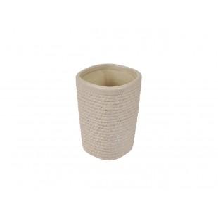 Béžový keramický kúpeľňový pohárik