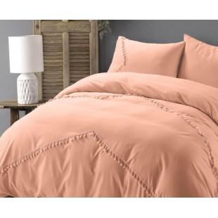 Broskyňová posteľná obliečka so strapčekmi