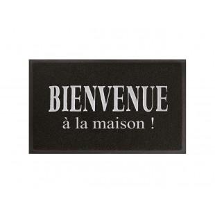 Čierna obdĺžniková rohožka s nápisom