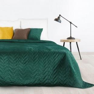 Tmavozelený prešívaný prehoz na posteľ