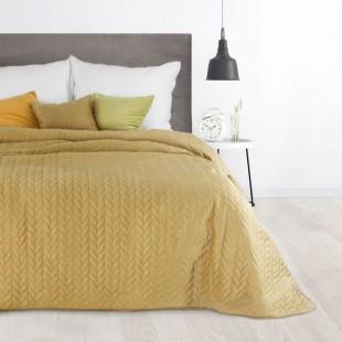 Horčicový prešívaný prehoz na posteľ