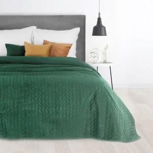 Zelený prešívaný prehoz na posteľ