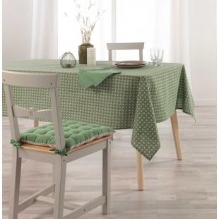 Zelený vzorovaný bavlnený obrus na stôl