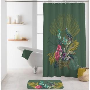 Tmavozelený kúpeľňový záves s rastlinným motívom