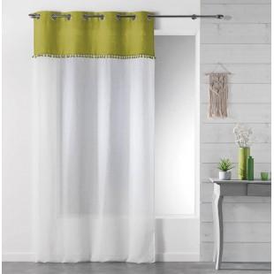 Biela záclona s olivovým pásom a strapčekmi na kruhy