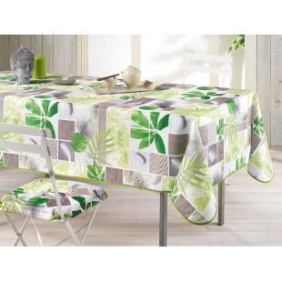Biely obrus na stôl so zeleným rastlinným motívom