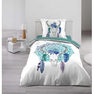 Biela posteľná obliečka s tyrkysovým vzorom
