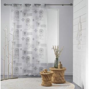 Biela vzorovaná záclona s motívom lapačov snov