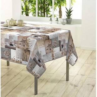 Sivo-béžový vzorovaný vianočný obrus na stôl