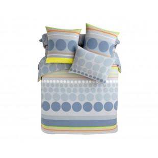 Sivo-modrá bodkovaná posteľná obliečka