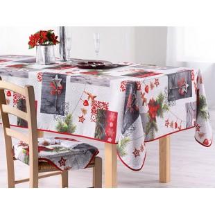 Sivý obrus na stôl s vianočnou tématikou