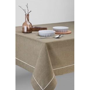 Olivový jednofarebný obrus na stôl s ozdobným pásikom