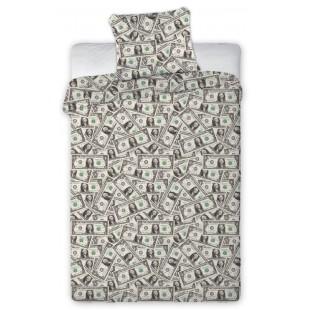 Sivá posteľná obliečka s motívom dolárov