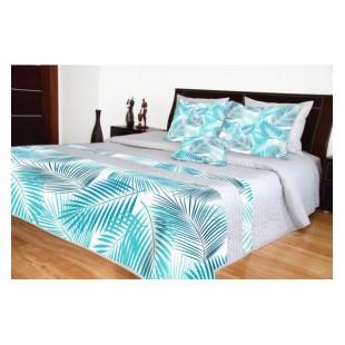 Sivý prešívaný prehoz na posteľ s modrými vetvičkami