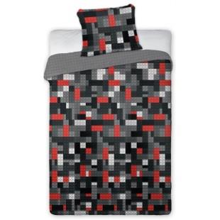 Sivo-červená posteľná obliečka s legom