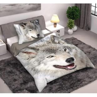 Sivá posteľná obliečka s motívom vlka