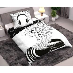 Bielo-čierna posteľná obliečka s hudobným motívom