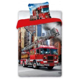 Červená posteľná obliečka s hasičským autom