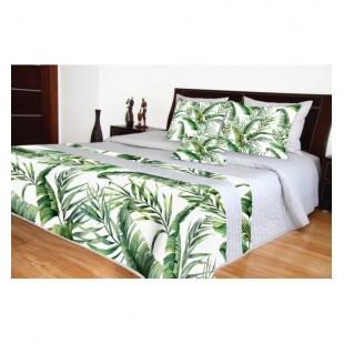 Moderný sivo zelený dekoračný prehoz na posteľ s listovým motívom