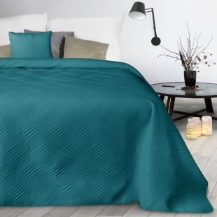 Tyrkysový mäkký prešívaný prehoz na posteľ