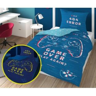 Modrá v tme svietiaca posteľná obliečka Game over