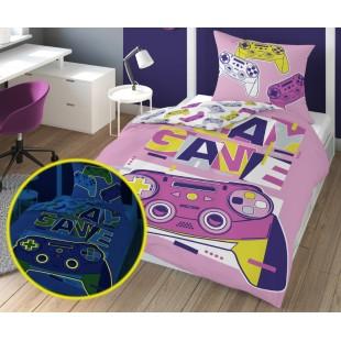 Ružová v tme svietiaca posteľná obliečka Play game