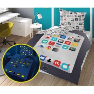 Sivá  v tme svietiaca posteľná obliečka s motívom displeja