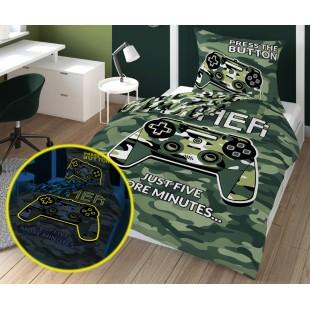 Zelená maskáčová v tme svietiaca posteľná obliečka