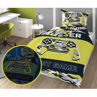 Žltá maskáčová v tme svietiaca posteľná obliečka