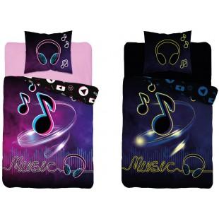 Fialová v tme svietiaca posteľná obliečka s hudobným motívom
