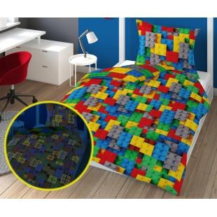 Farebná v tme svietiaca posteľná obliečka s legom