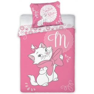 Ružová bavlnená posteľná obliečka s mačičkou