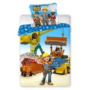 Modrá bavlnená posteľná obliečka Bob staviteľ