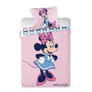 Ružová vzorovaná posteľná obliečka s Minnie