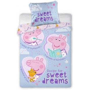 Fialová bavlnená posteľná obliečka Prasiatko Peppa