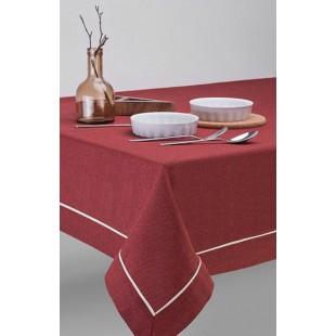 Bordový jednofarebný obrus na stôl s ozdobným pásikom