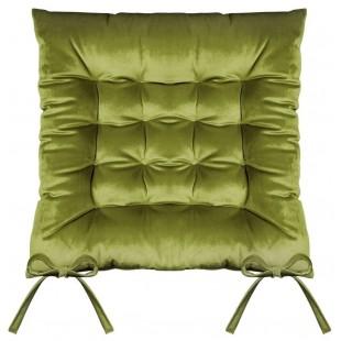 Zelená prešívaná zamatová poduška na stoličku