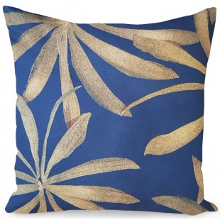Tmavomodrá dekoračná obliečka na vankúš so zlatým rastlinným motívom