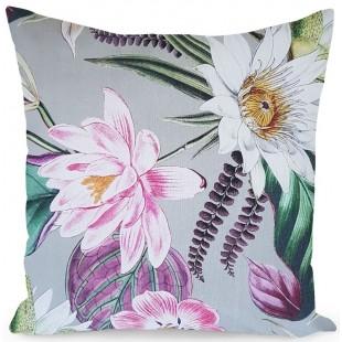 Sivá dekoračná obliečka na vankúš s farebnými kvetmi