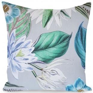Sivá dekoračná obliečka na vankúš s modrým rastlinným motívom