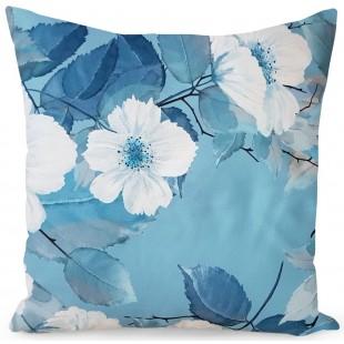 Modrá dekoračná obliečka na vankúš s kvetmi