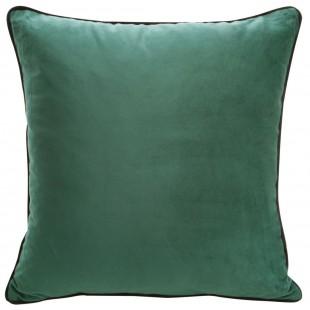 Zelená zamatová obliečka na vankúš s ozdobným lemom