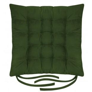 Zelená poduška na stoličku s prešívaním