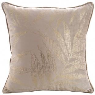 Béžová zamatová obliečka na vankúš so zlatou vetvičkou