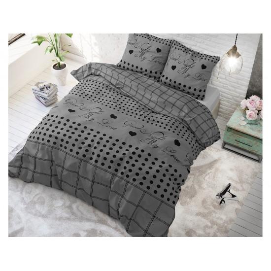 Tmavosivé moderné posteľné obliečky GOOD NIGHT MY LOVE