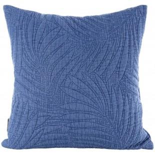 Modrá prešívaná obliečka na vankúš s rastlinným motívom