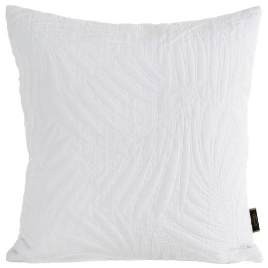 Biela prešívaná obliečka na vankúš s rastlinným motívom