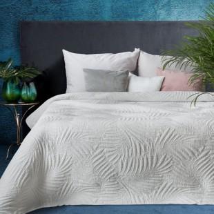 Biely elegantný dekoračný prehoz na posteľ s prešívaním