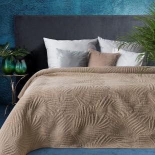 Hnedý elegantný dekoračný prehoz na posteľ s prešívaním